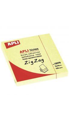 APLI AGIPA - 12078 - Bloc de 100 feuilles notes adhésives en Zig Zag - Format 75x75mm - Jaune