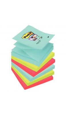 POST-IT - Z-Notes Super Sticky post-it, 76x76 mm, couleurs Miami : bleu océan, vert néon et coquelicot - Lot de 6 blocs de 90 fe