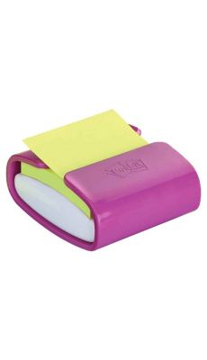 POST-IT - Dévidoir pro fuschia avec bloc de 90 feuilles de post-it 76 x 76 mm vert néon