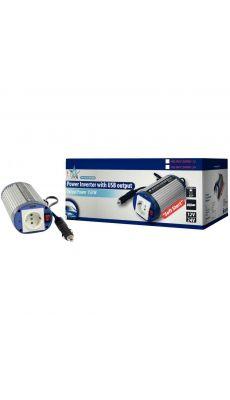 Convertisseur 12 V - 230 V avec plot terre (150 W) + USB
