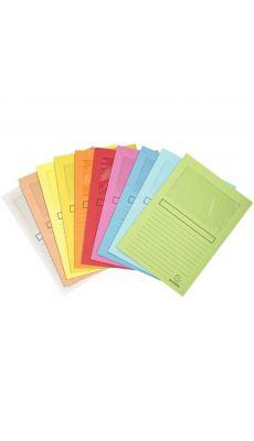 Exacompta - 50450E - Pochette coin en papier 160g 22x31cm avec fenêtre 18x10cm -  Couleurs assorties - Paquet de 10