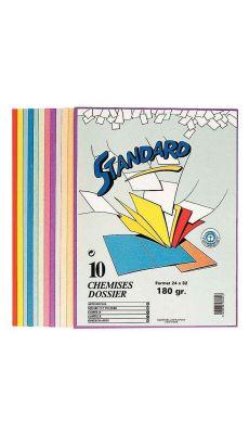 Exacompta - 420100E - Chemise 170g Forever 180 - 24x32cm - Coloris assortis - Paquet de 10