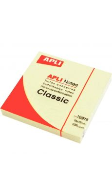 APLI AGIPA - 10975 - Bloc de 100 feuilles notes adhésives repositionnable - Format 75x75mm - Jaune