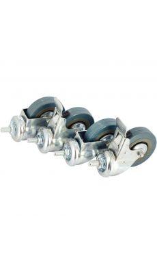 Roulettes pivotantes roues de 75mm de diamètre, dont deux avec freins - Lot de 4