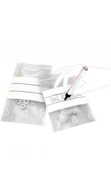 Sachet transparent en Polyéthylène à fermeture Zip avec bande blanche - 160x220mm - Boite de 1000
