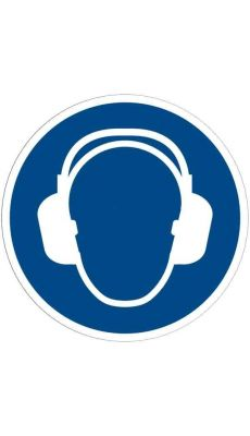 Panneau signalétique en PVC rond adhésif - Casque anti-bruit obligatoire