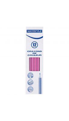Crayon de couleur MAJUSCULE rose - Boite de 12