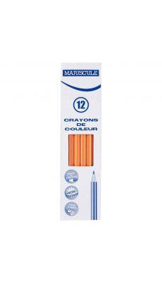 Crayon de couleur MAJUSCULE orange - Boite de 12