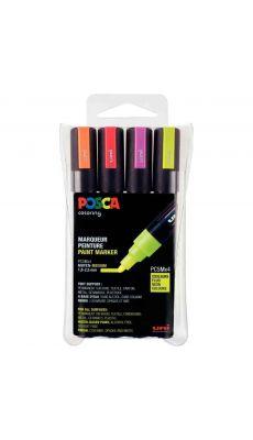 POSCA - Marqueur pointe moyenne conique 1.8-2,5 mm fluo assortis - Pochette de 4