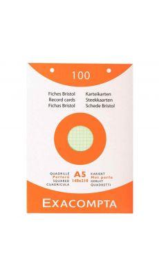 Exacompta - 13658E - Fiches bristol perforées petit carreaux couleurs assorties - Format 148X210mm - Boite de 100