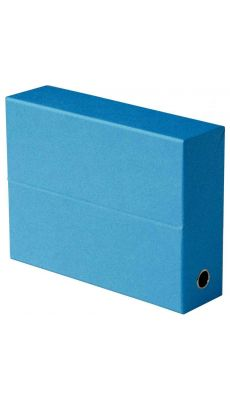 Boite de transfert FUN LINE en carton recouvert de papier grainé dos 9 cm - Coloris Bleu