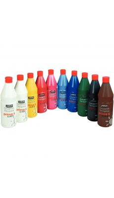 PRIMA COLOR - Peinture gouache PRIMACOLOR couleurs assorties - Lot de 10 flacons 1 litre