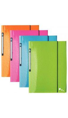 Chemise 3 rabats + élastique ART POP coloris assortis - En polypropylène opaque 5/10ème - Paquet de 4