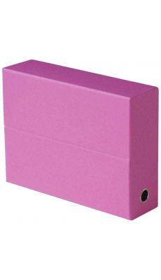 Boite de transfert FUN LINE en carton recouvert de papier grainé dos 9 cm - Coloris rose