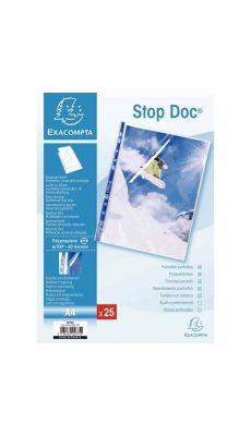 Exacompta  - 5875E - Pochette perforée STOP DOC en polypropylène 6/100ème aspect lisse - Format A4 - Ouverture en coin - Sachet
