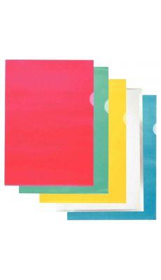 Pochette coin en polypropylène grainé 9/100ème format A4 coloris assortis - Boite de 100