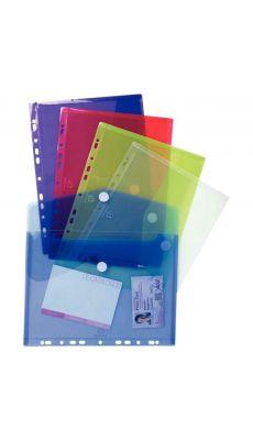 Exacompta  - 57380E - Enveloppe perforée en polypropylène 20/100ème - Format A4 - Coloris assortis - Paquet de 5