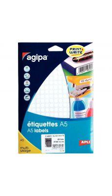 Agipa - 114001 - Etiquette adhésive blanche A5 - Diamètre 8 mm - Etui de 4704