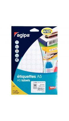 Agipa - 114002 - Etiquette adhésive blanche A5 - Diamètre 15 mm - Etui de 1536