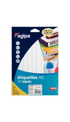 Agipa - 114008 - Etiquette adhésive blanche A5 - Format 09x13 mm - Etui de 3024