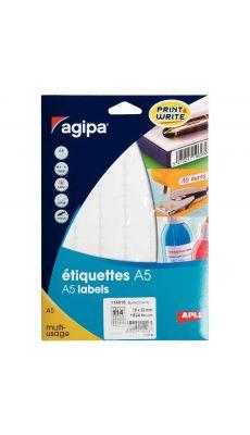 Agipa - 114018 - Etiquette adhésive blanche A5 - Format 10x22 mm - Etui de 1824