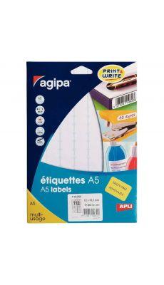 Agipa - 114260 - Etiquette adhésive blanche A5 - Format 12x18 mm - Etui de 1120