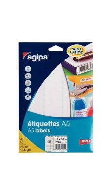 Agipa - 114044 - Etiquette adhésive blanche A5 - Format 13,5x38 mm - Etui de 720