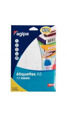 Agipa - 114010 - Etiquette adhésive blanche A5 - Format 19,4x32 mm - Etui de 640