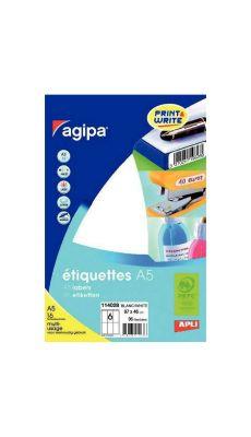 Agipa - 114028 - Etiquette adhésive blanche A5 - Format 46x97 mm - Etui de 96