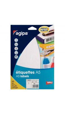 Agipa - 114024 - Etiquette adhésive blanche A5 - Format 64x133 mm - Etui de 48