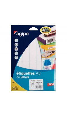 Agipa - 114027 - Etiquette adhésive blanche A5 - Format 100x24 mm - Etui de 160