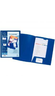 Exacompta - 43502E - Chemise 2 rabats kreacover personnalisable bleu A4