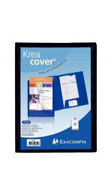 Exacompta - 43501E - Chemise 2 rabats kreacover personnalisable noir A4