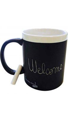 Mug céramique contour blanc et finition effet ardoise - Lot de 6