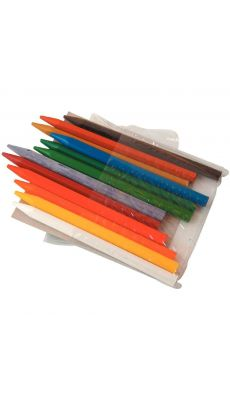 Crayon de couleur plastique forme hexagonale - pochette de 12