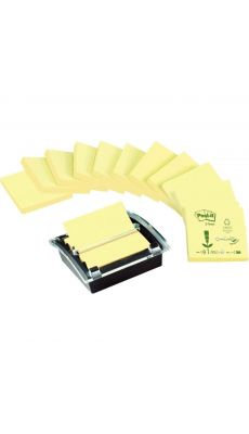 POST-IT - BP284 - Z-notes recyclées avec un dévidoir millénium noir offert - Lot de 12 blocs