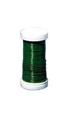 Fil laque vert p/fleur - bobine de 100m