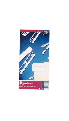 Enveloppe blanche DL 110x220 80G bande siliconnée - Paquet de 50