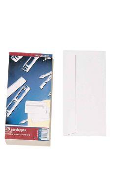 Enveloppe blanche DL 110x220 90G bande siliconnée - Paquet de 25