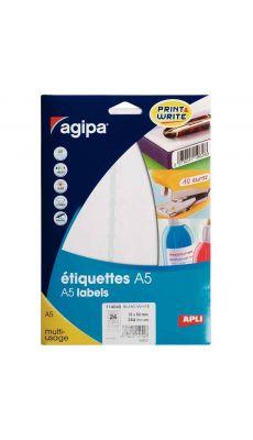 Agipa - 114040 - Etiquette adhésive blanche A5 - Format 15x50 mm - Etui de 384