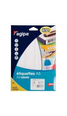 Agipa - 114042 - Etiquette adhésive blanche A5 - Format 99x32 mm - Etui de 128