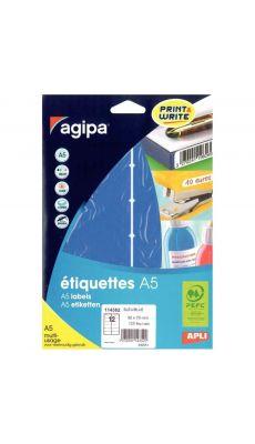 Agipa - 114352 - Etiquette adhésive A5 - Bleu - Format 32x70 mm - Etui de 120