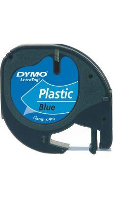 Dymo - 91205 - Ruban cassette Letratag plastique - 12mm x 4m - Noir sur Bleu