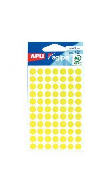 Agipa - 111834 - Pastille adhésif diamètre 8 mm - Jaune - Sachet de 462