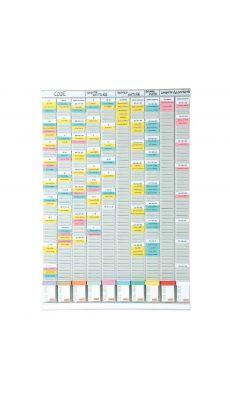 Acco - 2901000 - Planning polyvalent 54 fentes et 10 bandes - Format 96x64,5 cm.