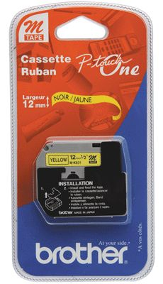 Brother - MK631 1B - Recharge ruban noir et jaune 12mm