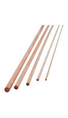 Baguette ronde en bois natuel diam 5mm l.1m - sachet de 10