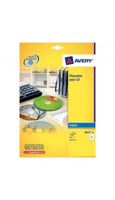 Avery - J8676-25 - Etiquettes jet d'encre cd/dvd 117mm - Paquet de 50