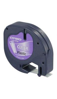 Dymo - 12267 - Ruban cassette Letratag plastique - 12mm x 4m - Noir sur Transparent