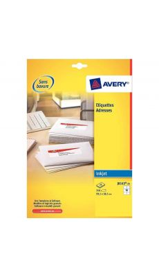 Avery - J8160-25 - Etiquettes jet d'encre 63,5x 38.1mm - Paquet de 525
